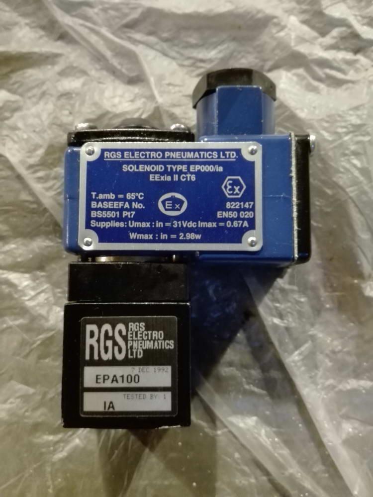 Электромагнитный пневмоклапан RGS ELECTRO PNEUMATICS EPA100 TYPE EP000-ia